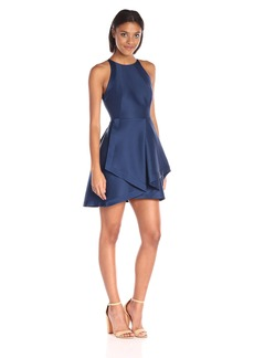HALSTON HERITAGE Women's Sleeveless High Neck Structured Dress with Tiered Skirt