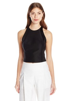 Halston Heritage Women's Sleeveless High Neck Structured Top