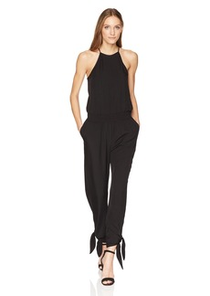 Halston Heritage Women's Sleeveless High Neck Tapered Jumpsuit with Ties