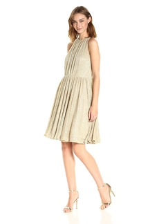 Halston Heritage Women's Sleeveless High Neck Texturedress with Strap Detail  L
