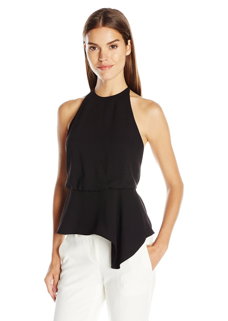 HALSTON HERITAGE Women's Sleeveless High Neck Top with Back Multi Strap Detail