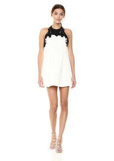 Halston Heritage Women's Sleeveless High Neck with Embroidered Top Dress