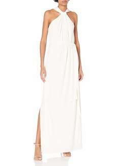 Halston Heritage Women's Sleeveless Knot Drape Neck Jersey Gown with Sash  M