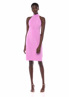 Halston Heritage Women's Sleeveless Moch-Neck Dress with Strap Detail