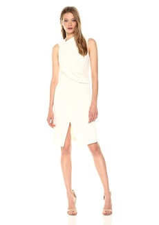 Halston Heritage Women's Sleeveless Mock Neck Draped Front Dress