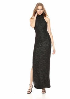 Halston Heritage Women's Sleeveless Mock Neck Metallic Knit Gown Black