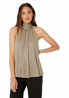 Halston Heritage Women's Sleeveless Mock Neck Metallic Knit Hi Lo Top