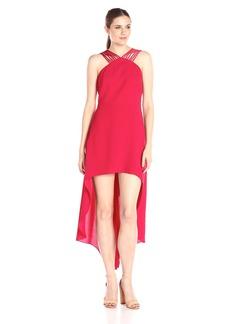HALSTON HERITAGE Women's Sleeveless Multi Strap V-Neck Hi-Lo Dress