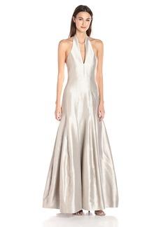 Halston Heritage Women's Sleeveless Organic Halter Neck Gown