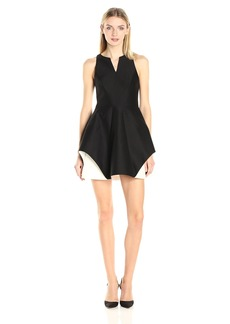 HALSTON HERITAGE Women's Sleeveless Organic Notch Neck Color Blocked Dress