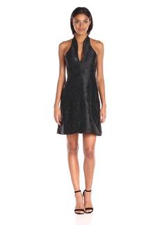 HALSTON HERITAGE Women's Sleeveless Organic Notch Neck Jacquard Dress