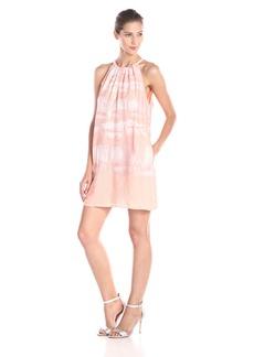 HALSTON HERITAGE Women's Sleeveless Printed Dress with Sequin Panel