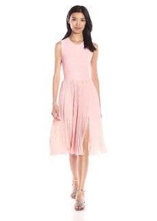 HALSTON HERITAGE Women's Sleeveless Round Neck Allover Pleated Dress with Cross Back