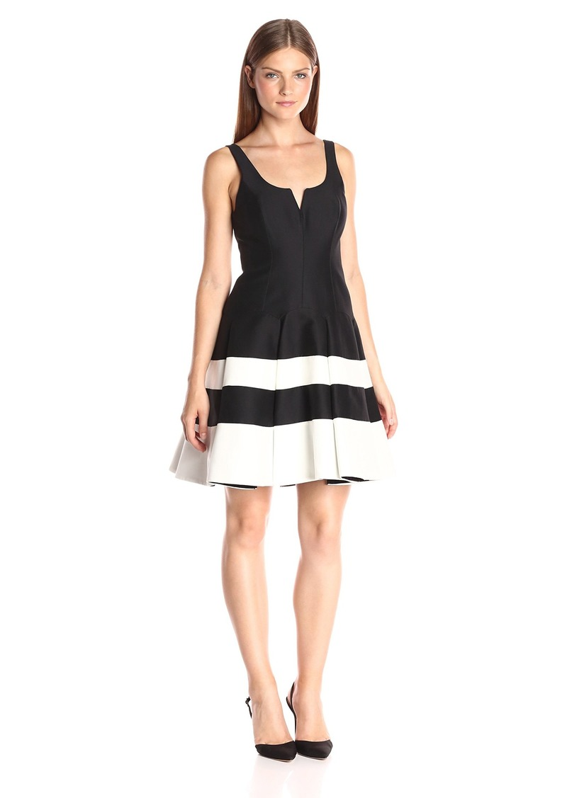 Halston Heritage Women's Sleeveless Round Neck Color-Blocked Structurd Dress with Notch