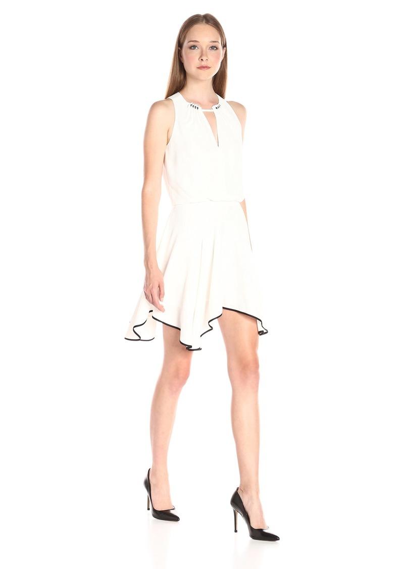 Halston Heritage Women's Sleeveless Round Neck Colorblocked Flounce Skirt Dress