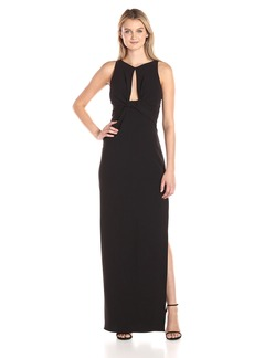 Halston Heritage Women's Sleeveless Round Neck Crepe Gown with Front Keyhole