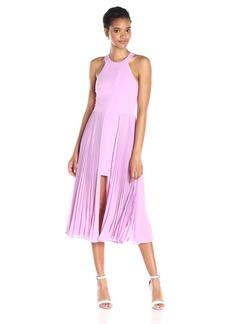 HALSTON HERITAGE Women's Sleeveless Round Neck Crop Dress with Pleated Ggt Skirt Insert