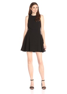 HALSTON HERITAGE Women's Sleeveless Round Neck Double Faced Crepe Dress