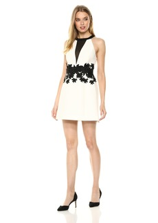 Halston Heritage Women's Sleeveless Round Neck Dress with Floral Embroidery