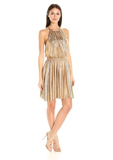 HALSTON HERITAGE Women's Sleeveless Round Neck Dress with Flounce Skirt  M