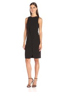 HALSTON HERITAGE Women's Sleeveless Round Neck Dress With Overlay Detail