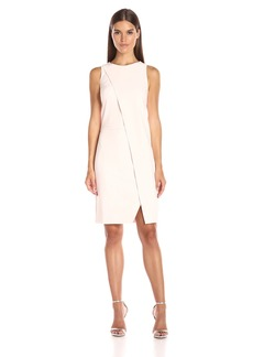 Halston Heritage Women's Sleeveless Round Neck Dress with Overlay Detail
