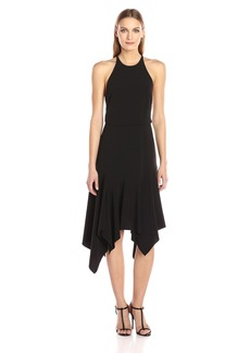 HALSTON HERITAGE Women's Sleeveless Round Neck Flounce Skirt Dress With Back Straps