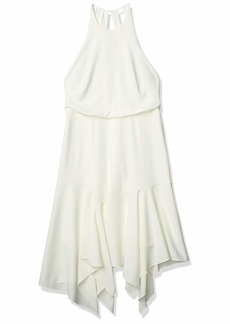 Halston Heritage Women's Sleeveless Round Neck Flounce Skirt Dress with Back Straps