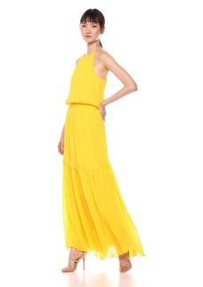 Halston Heritage Women's Sleeveless Round Neck Flowy Pleated Gown