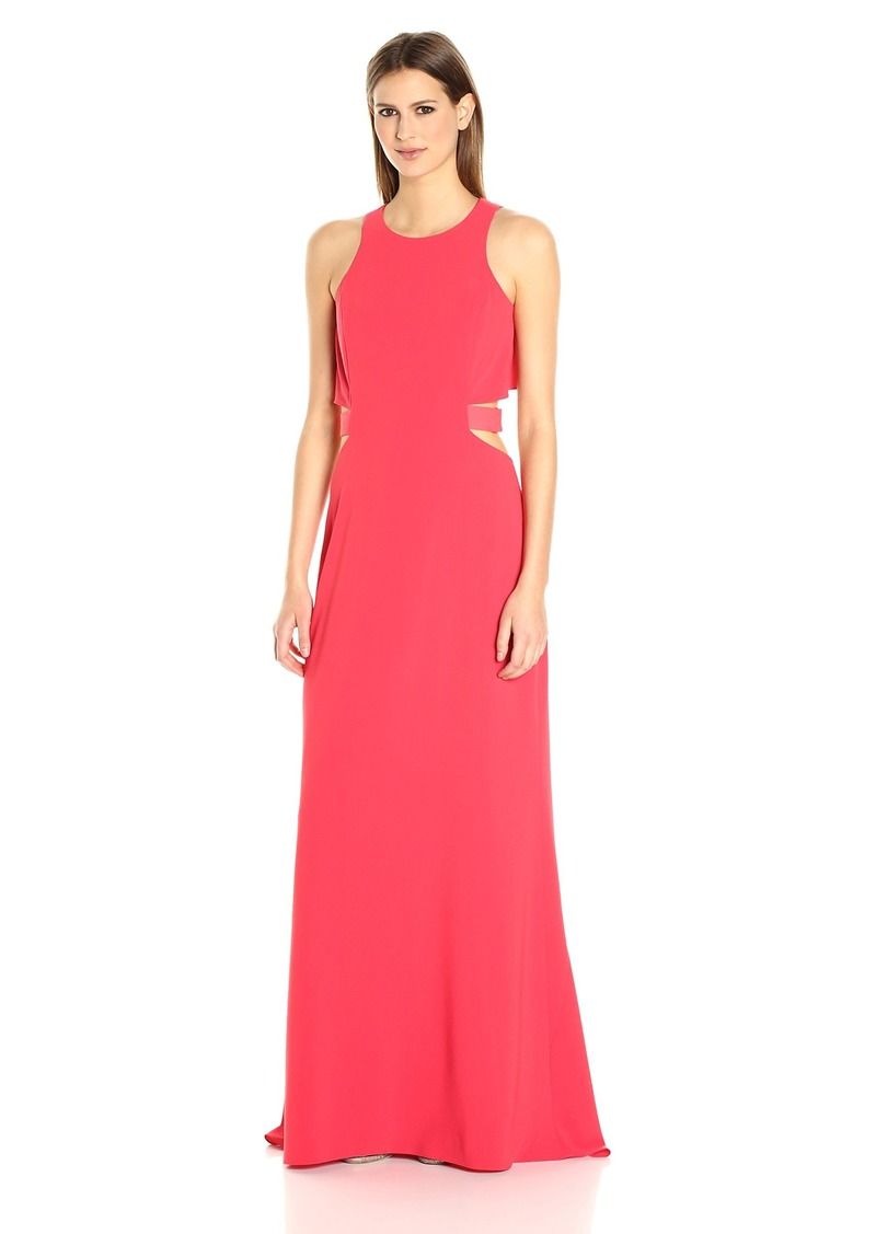 Halston Heritage Women's Sleeveless Round Neck Gown Flowy Back & Cut Out