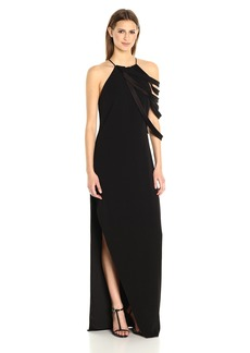 Halston Heritage Women's Sleeveless Round Neck Gown with Draped Strip Detail