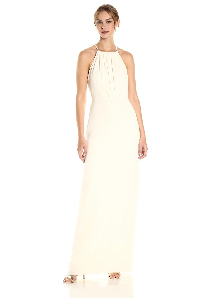 Halston Heritage Women's Sleeveless Round Neck Gown with Flounce Cirss Cross Back