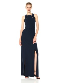 Halston Heritage Women's Sleeveless Round Neck Gown with Sheer Inserts