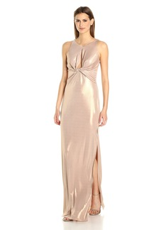 Halston Heritage Women's Sleeveless Round Neck Metallic Jersey Gown Front Keyhole Champagne