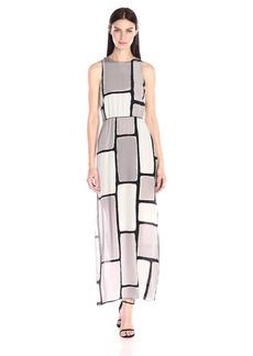 HALSTON HERITAGE Women's Sleeveless Round Neck Maxi Dress with Cross Back
