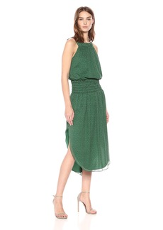 Halston Heritage Women's Sleeveless Round Neck Printed Ruched Maxi