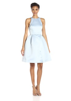 HALSTON HERITAGE Women's Sleeveless Round Neck Satin Faille Dress with Back Cut Out