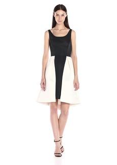 HALSTON HERITAGE Women's Sleeveless Round Neck Satin Faille Dress with Skirt Overlay