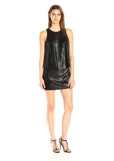 Halston Heritage Women's Sleeveless Round Neck Sequined Dress Matte Shiny Black