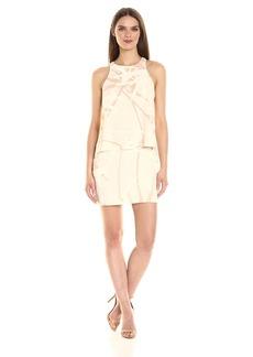HALSTON HERITAGE Women's Sleeveless Round Neck Tiered Dress