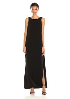 Halston Heritage Women's Sleeveless Satin Cami Gown with Cape Back