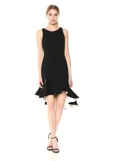Halston Heritage Women's Sleeveless Scoop Neck Dress with Flounce Skirt