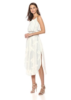 Halston Heritage Women's Sleeveless Scoop Neck Smocked Waist Dress Cream/Black pin dot Floral Print