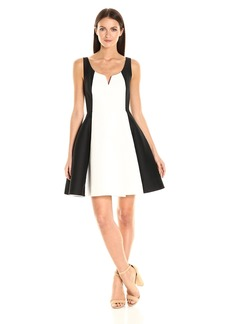Halston Heritage Women's Sleeveless Scoop Notch Neck Color Blocked Dress
