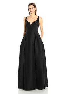 Halston Heritage Women's Sleeveless Scoop Notch Neck Silk Faille Gown