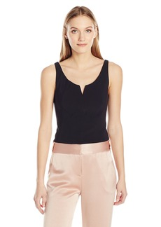 Halston Heritage Women's Sleeveless Scoop Notch Neck Structure Top