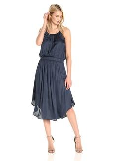 Halston Heritage Women's Sleeveless Shirred Jersey Midi Dress With Waist Detail  L