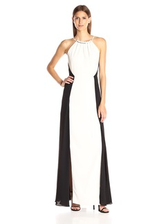 Halston Heritage Women's Sleeveless Shirred Neck Color-Blocekd Gown