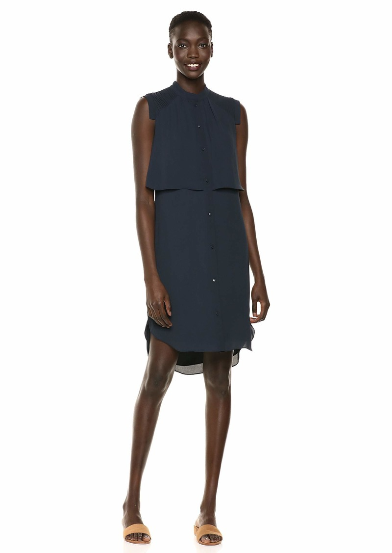 Halston Heritage Women's Sleeveless Shirtdress w/Pleating Detail  XS