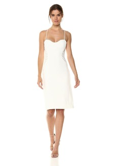 Halston Heritage Women's Sleeveless Slim Dress Strip Applique
